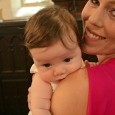 Joys of motherhood: Claire Harvey with baby Reg