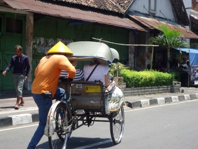 Becak ride - still popular in Yogyakarta Photo: Megan Wright