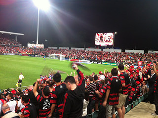 Wanderers fans provided a great atmosphere for their team  Photo: Sportinaus