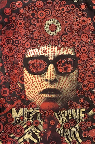 Martin Sharp, Mister Tambourine Man 1967, two-colour screenprint red and black ink on gold reflective foil paper 75.4 x 49.8cm. Art Gallery of New South Wales. Thea Proctor Memorial Fund 1970 © Martin Sharp