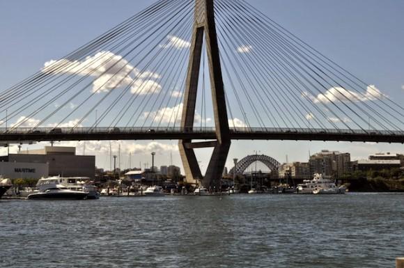 Anzac Bridge, the longest span cable-stayed bridge in Australia
