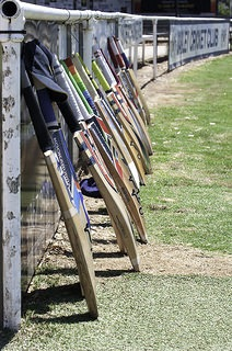 All over Australia and in many parts of the world cricket bats have been left out as a sign of respect to Phillip Hughes  Photo:justjimwilldo