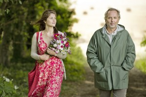 Gemma Arterton as Mrs Gemma Bovery and Fabrice Luchini as Martin Joubert in Gemma Bovery