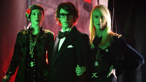 Gaspard Ulliel as Yves Saint Laurent with his two muses, Lea Seydoux as Loulou de La Falaise and Aymeloine Vallade as Betty Catroux in Saint Laurent