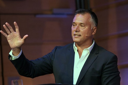 Stan Grant addresses ethics debate at the City Recital Hall   Photo: Barbaa McGrady