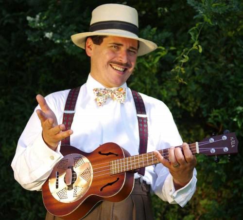 Dominic Santangelo and his ukulele strumming character Godfrey