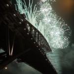 The bridge arch disappears in the firework display